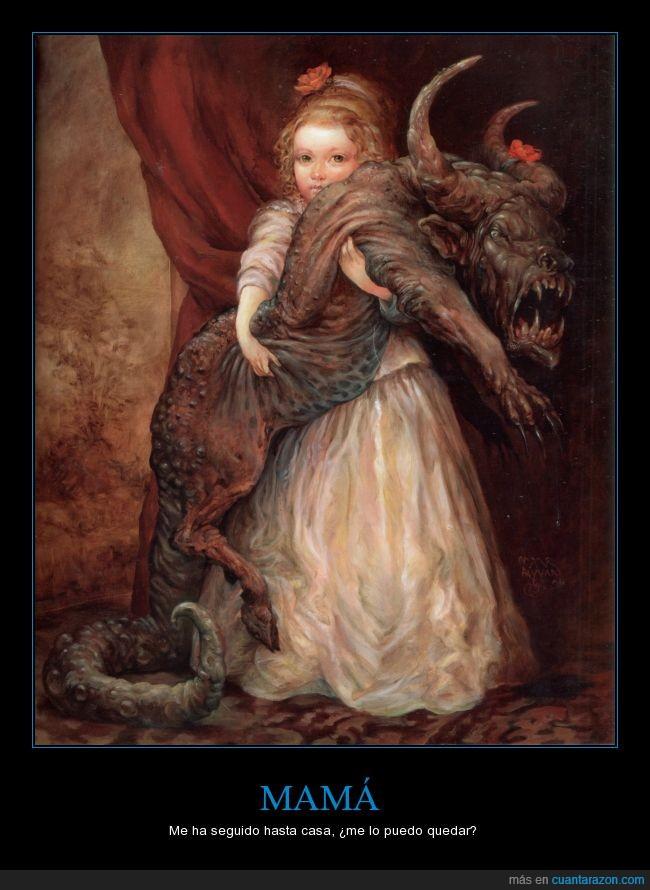 con esa florcita se ve bonito,mascota,miedo,monstruo,niña,obra,Omar Rayyan,pintura