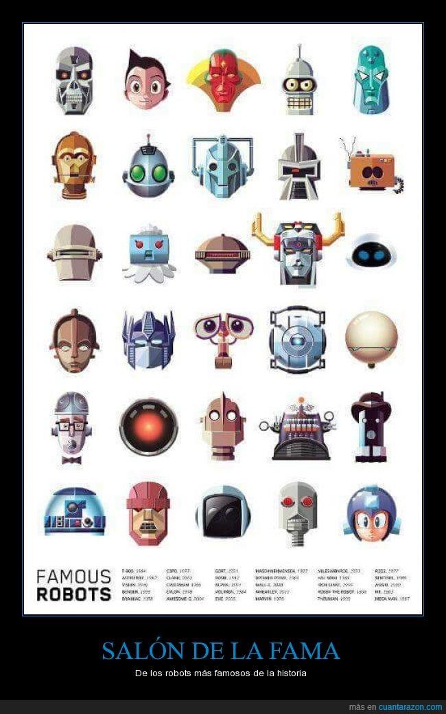 astroboy,bender,c3po,caricatura,cómic,dibujos,eva,glados,historieta,metroid,películas,r2d2,Robots,terminator,wall-w
