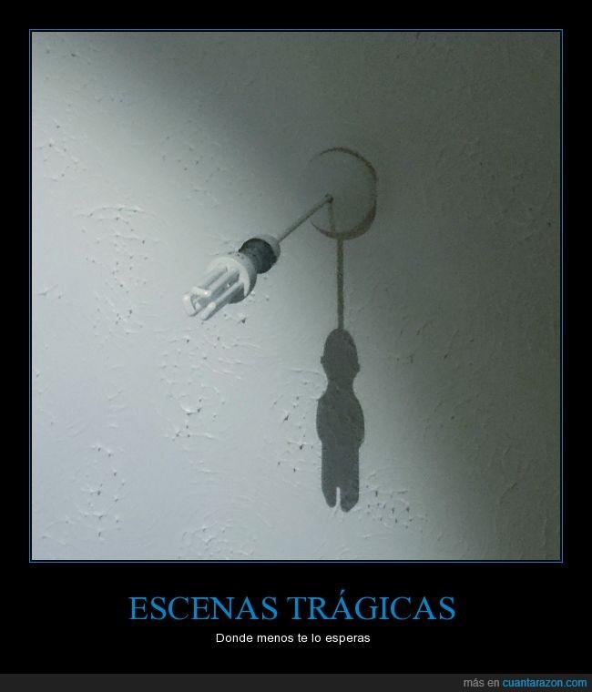 ahorcado,ahorrador,bombilla,Foco,lámpara,luz,muerto,pared,silueta,sombra