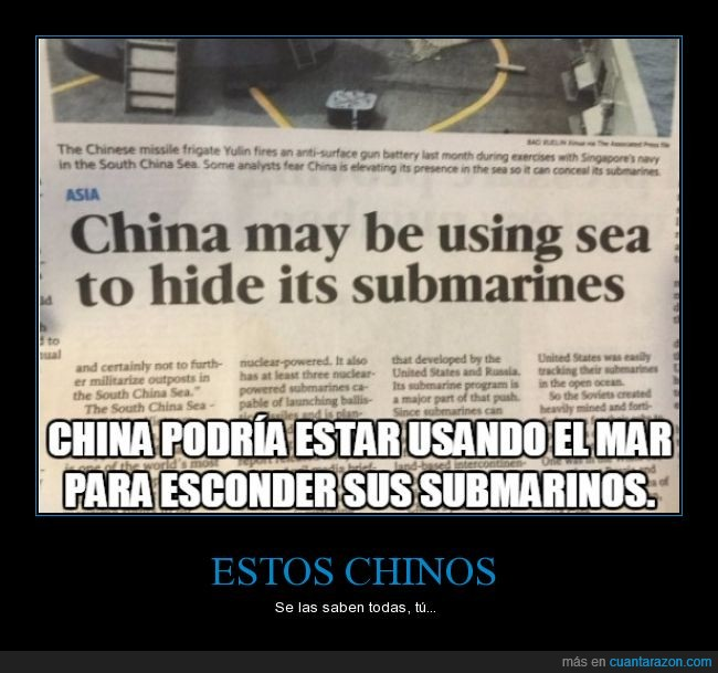 china,chinos,esconder,mar,misiles,noticia,periodico,submarino
