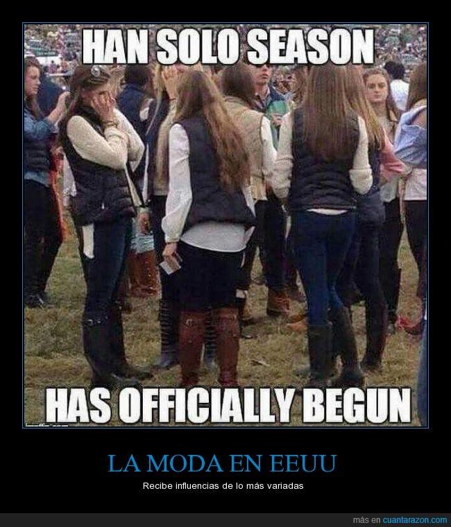 castañas,EEUU,Han Solo,moda,Mujeres,Star Wars,vestirse