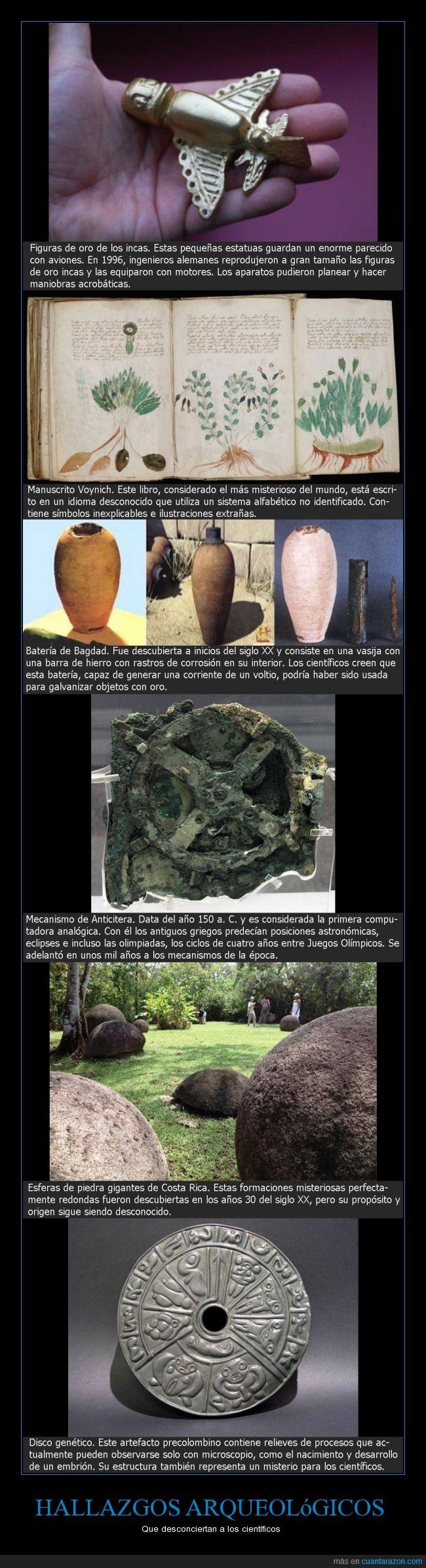 artefactos,Bagdad,Batería,Costa Rica,Disco genético,enigmáticos,Esferas,Figuras de oro,hallazgos arqueológicos,incas,inexplicables,Manuscrito Voynich,Mecanismo de Anticitera,piedra gigantes