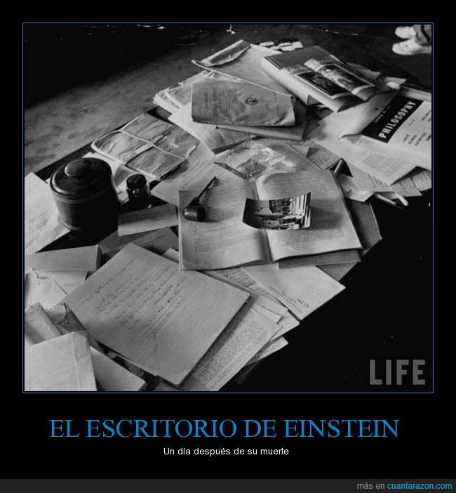 Einstein,escritorio,life,muerte,papeles