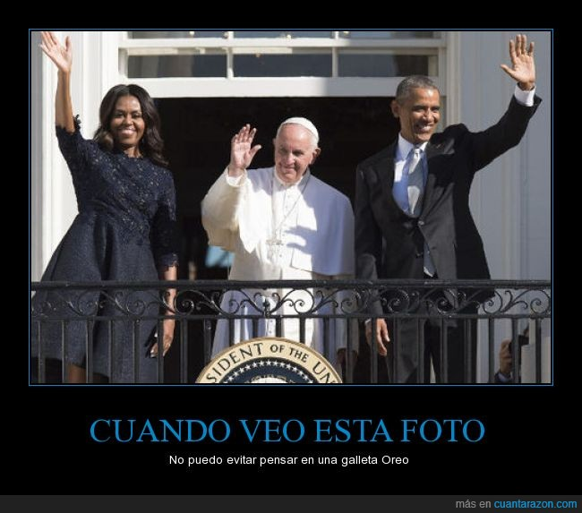balcón,Barack Obama,Galleta,Michelle Obama,Oreo,papa Francisco