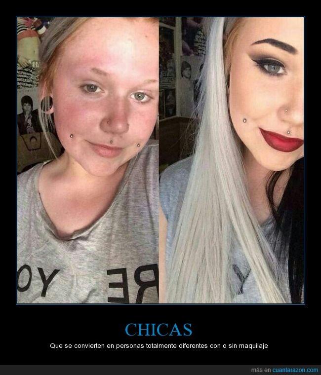 cambio,chica,diferente,fea,guapa,maquillada,maquillaje,maquillar