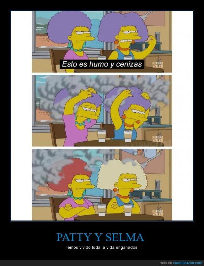ceniza,color,engaño,gris,Los Simpson,Patty,pelo,Selma,Simpsons,The Simpson