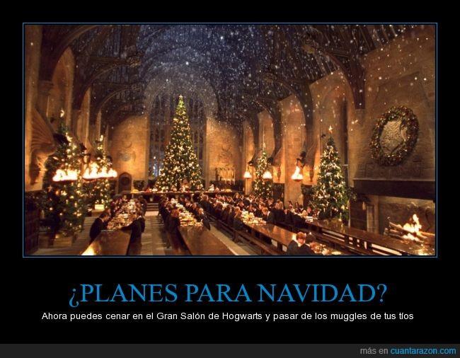 cena,Gran Salon,Great Hall,Harry Potter,Hogwarts,Navidad