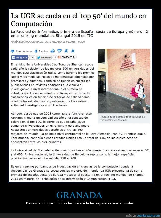 ahí estudio yo,España,Granada,informática,poco conocida,UGR,universidad,vamos mi granada,y creciendo