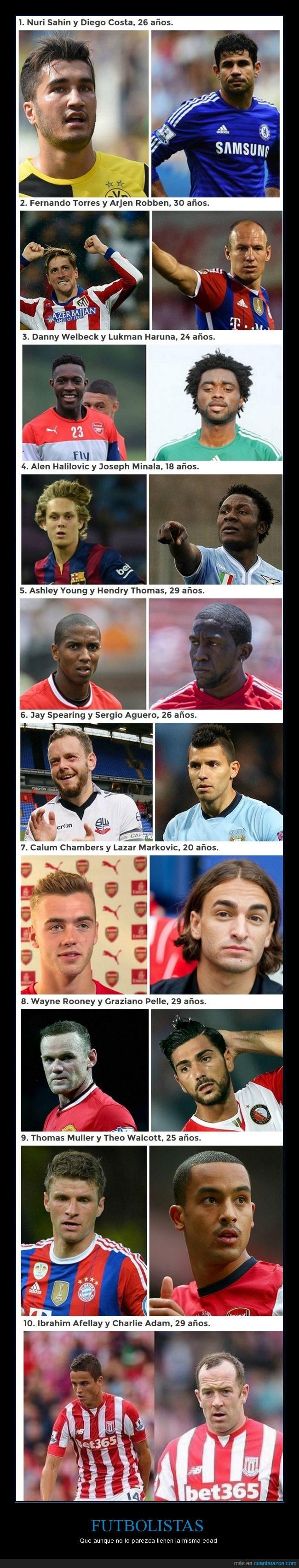 años,deporte,futbol,futbolistas,joven,mayor,misma edad,viejo