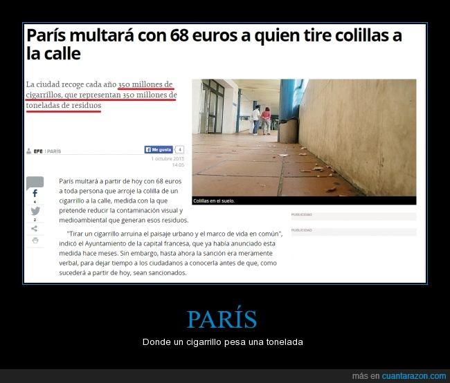 basura,cigarrillos,error,exageracion,Paris,periódico,toneladas
