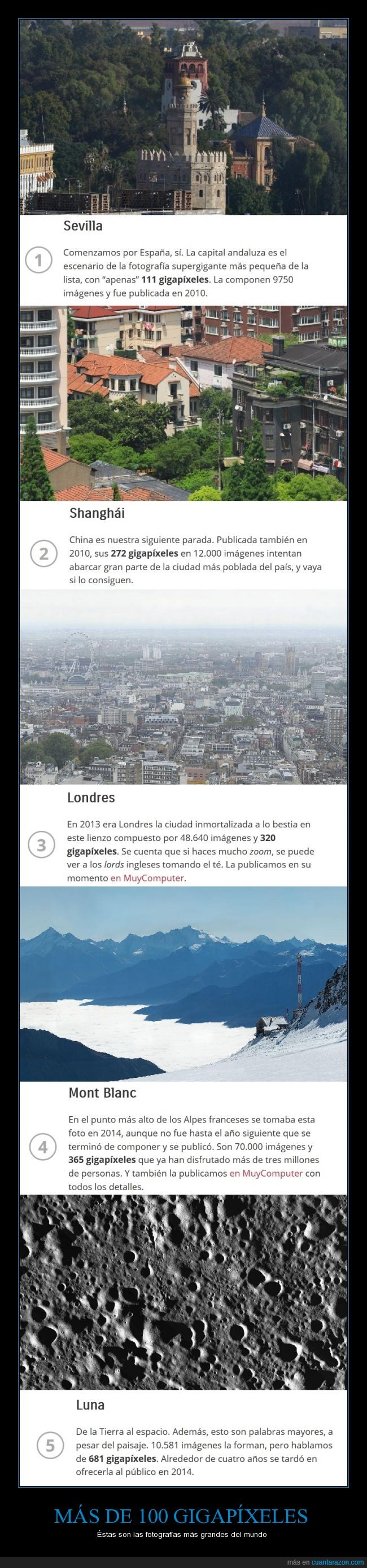 100,fotografiás,gigapíxeles,grande,Londres,luna,Mont Blanc,Sevilla,Shanghái,sorprendente