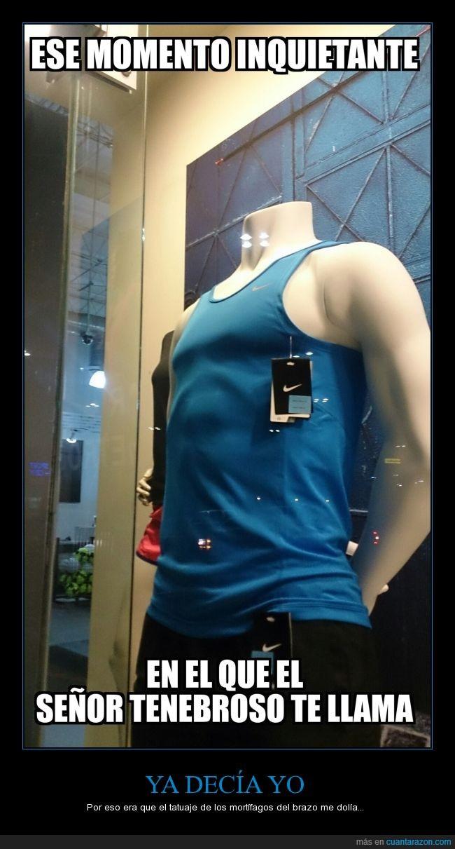 abdominales,camiseta,Harry Potter,Lord Voldemort,maniquí,marca,mortífagos,Nike,pectoral,señor tenebroso,tienda