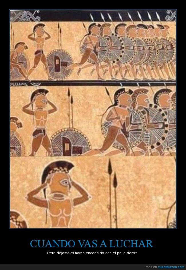 cuadro,Esparta,Grecia,Horno,Luchar,Persas,Pollo,Roma,vasija