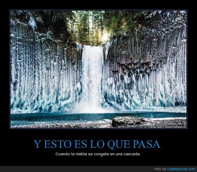 agua,cascada,congelada,congelar,frio,hielo,Niebla