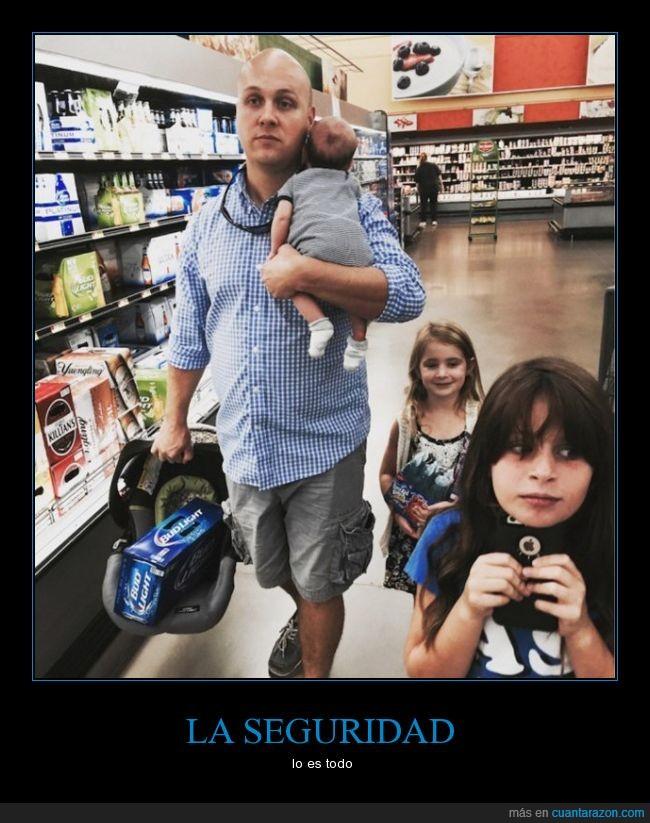bebe,carro,cerveza,cesta,cuna,hijas,llevar,mercado,padre,papa