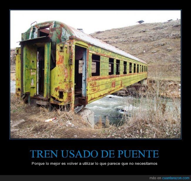 ingenio,puente,reciclaje,rio,tren,viejo
