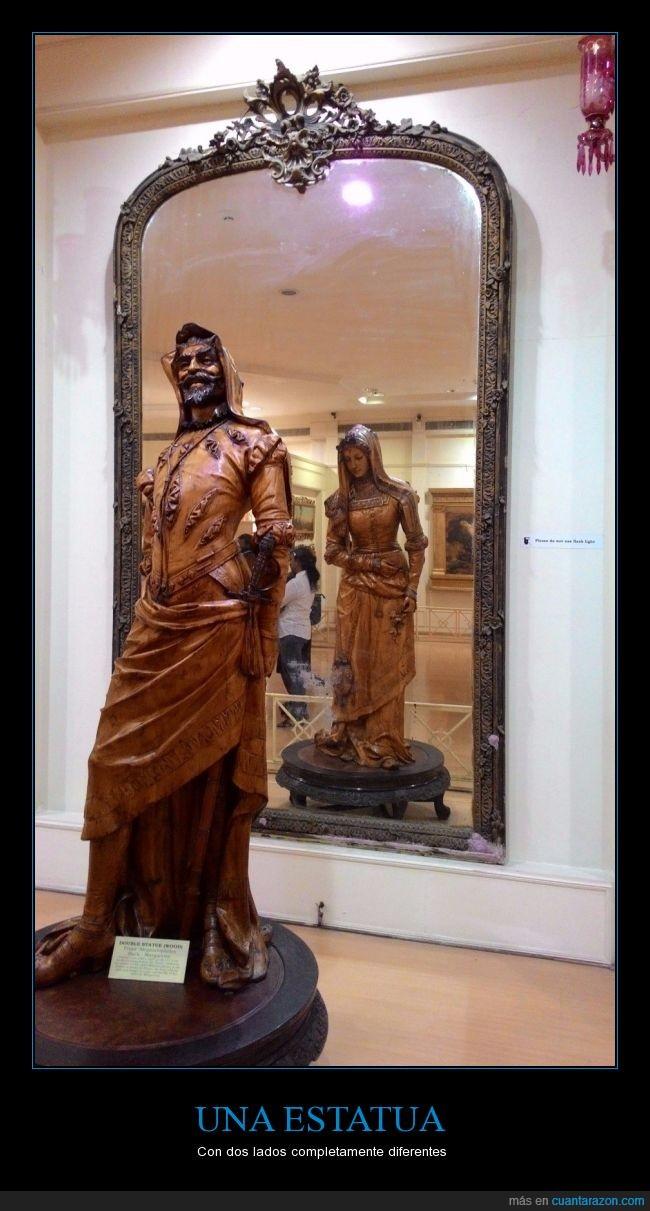 escultura,espejo,estatua,hombre,lado,madera,mirar,mujer,tallada