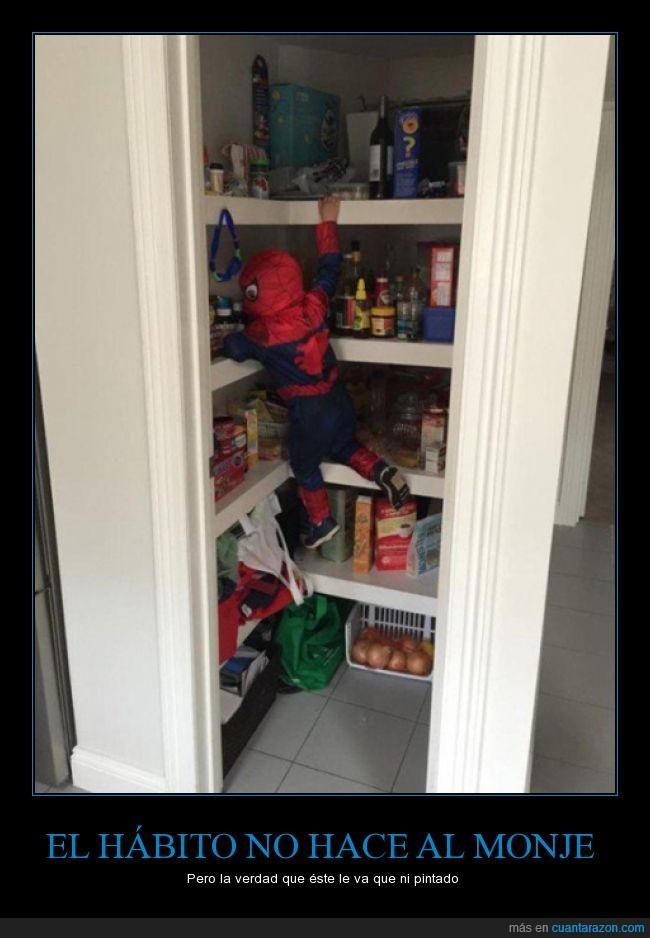 comida,despensa,disfraz,escalar,hijo,niño,rincón,spiderman,trepar