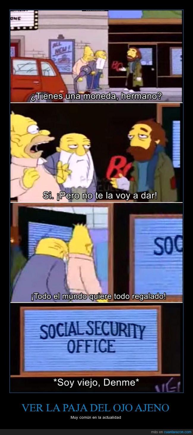 Abe,Abraham,regalado,seguridad social,Simpson,soy viejo denme,vagabundo,viejo