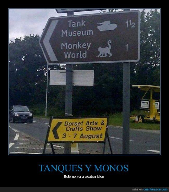 mala combinación,monkey world,mono,Museo de tanques,tank,tanque,zoológico de monos
