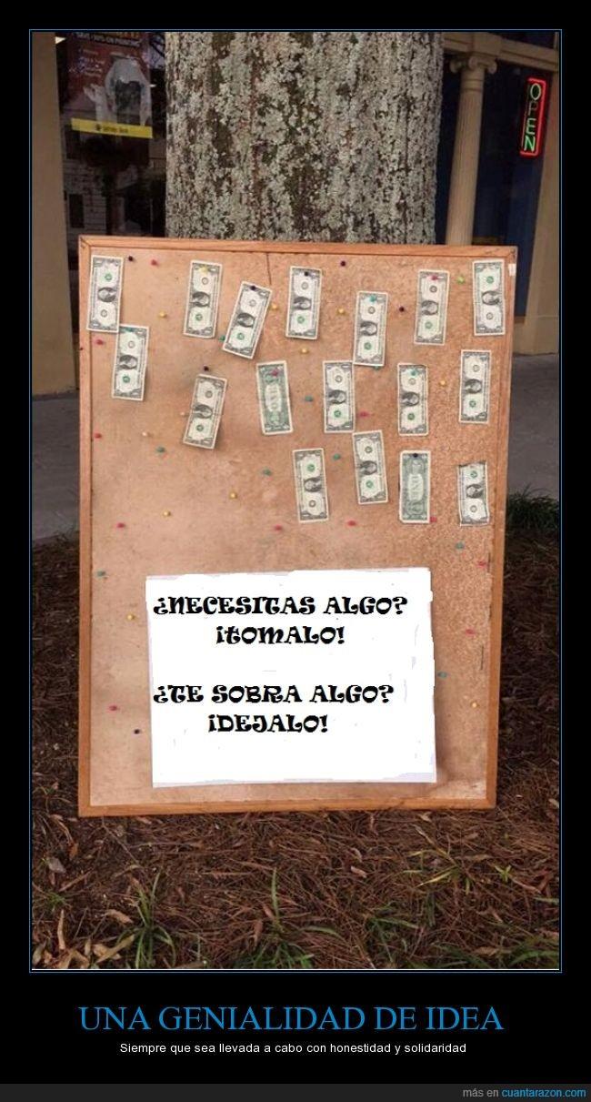 1 dólar,ayuda mutua,billetes,coger,dejar,Dinero,dolar,pizarra
