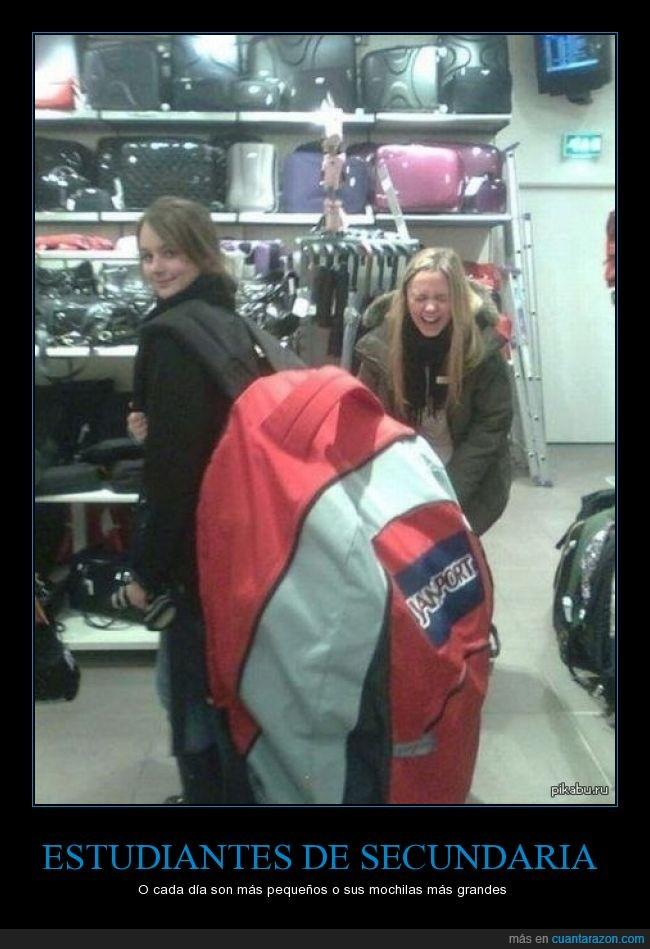 estudiantes,gigante,grande,mochila,secundaria,vender