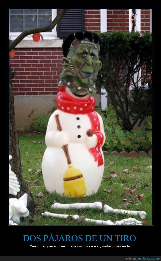 careta,cutre,frankenstein,halloween,muñeco de nieve,navidad