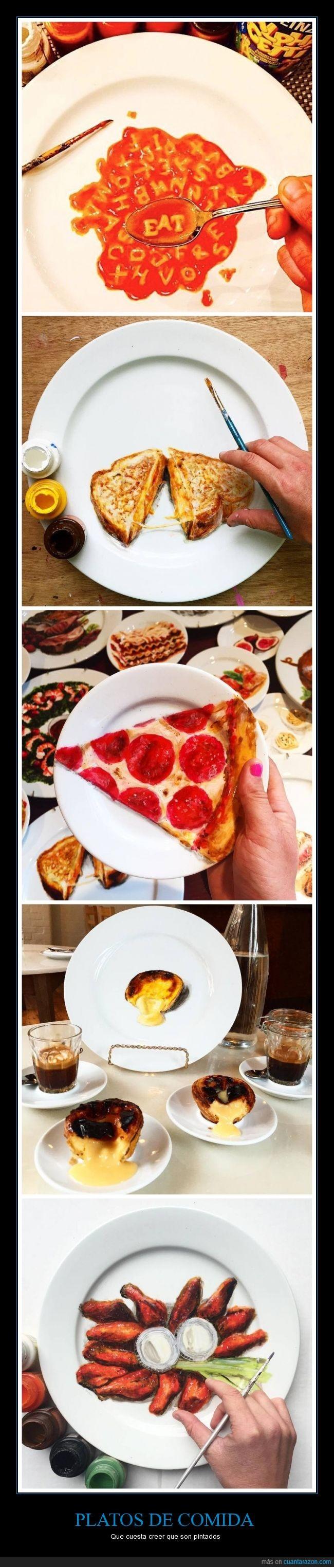 alitas,comida,hiperrealismo,hiperrealista,pintura,pizza
