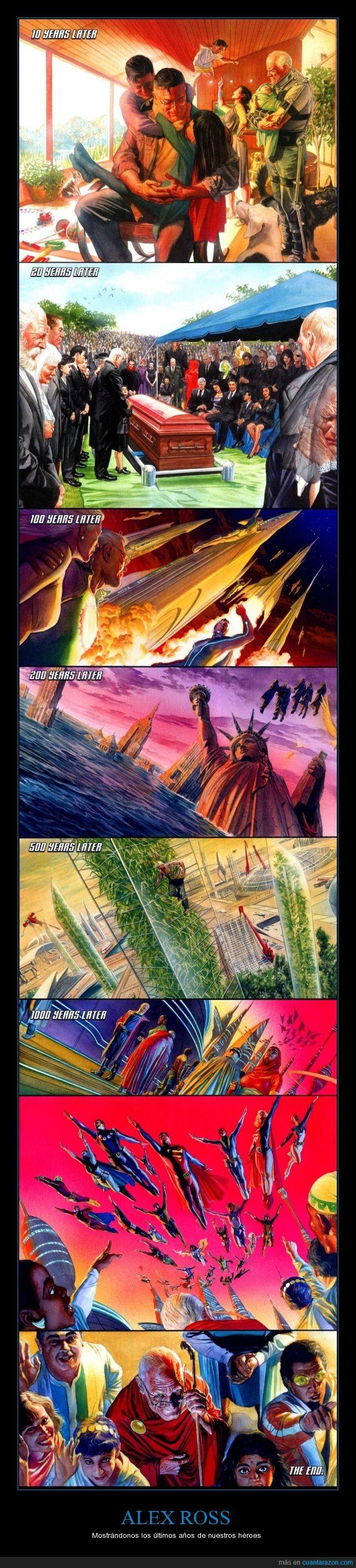 alex ross,artista,Batman,comic,familia,funeral,futuro,mujer maravilla,Superman