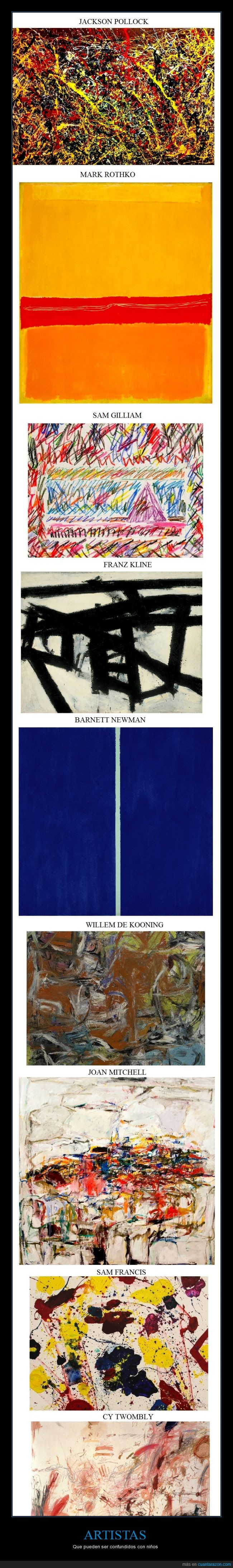 arte contemporaneo,de kooning,gilliam,kline,mitchell,newman,pollock,rothko,sam francis,twombly
