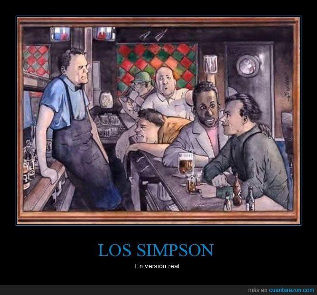 bar,Carl,El bar de Moe,Homer,humanos,Lenny,Los Simpson,mismo,moe