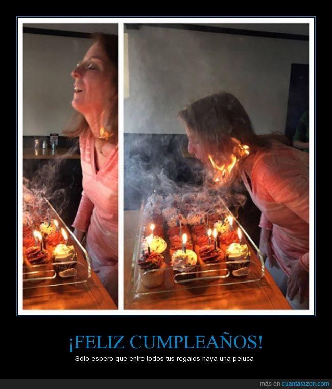 arder,cupcake,fuego,pastel,pelo,prender,quemar,vela