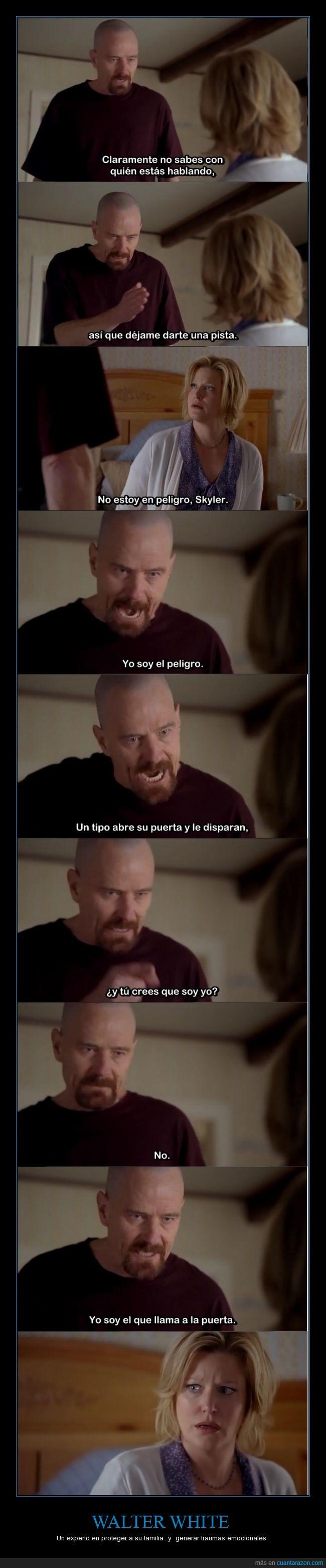 breaking bad,episodio,fragmento,llamar,peligro,proteger,puerta,Skyler,Walt