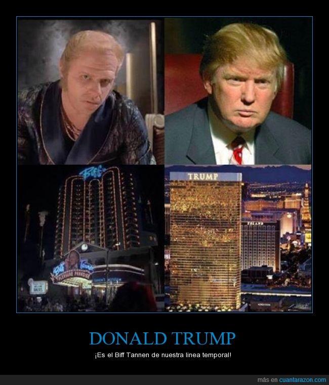 Biff Tannen,Donald trump,edificio,linea temporal,riqueza,volver al futuro