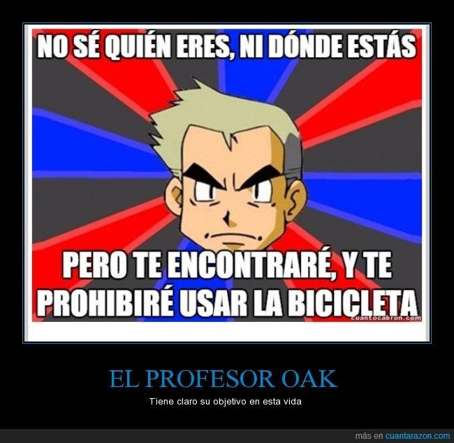 bicicleta,donde,oak,pokémon,profesor,prohibir,quien,usar,videojuego