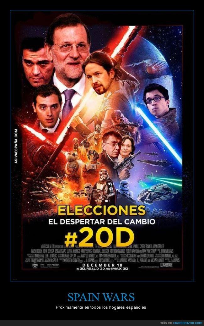 Albert Rivera,ciudadanos,elecciones,Errejon,Pablo Iglesias,Pedro Sanchez,podemos,política,PP,PSOE,Rajoy,Spain Wars,Star Wars,votaciones