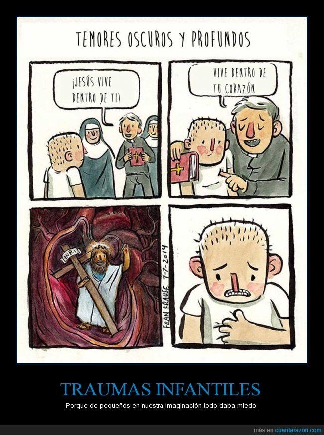 corazón,creepy,cruz,hombre,jesus,miedo infantil,monjas,niño,sacerdote,traumas,vive,vivir
