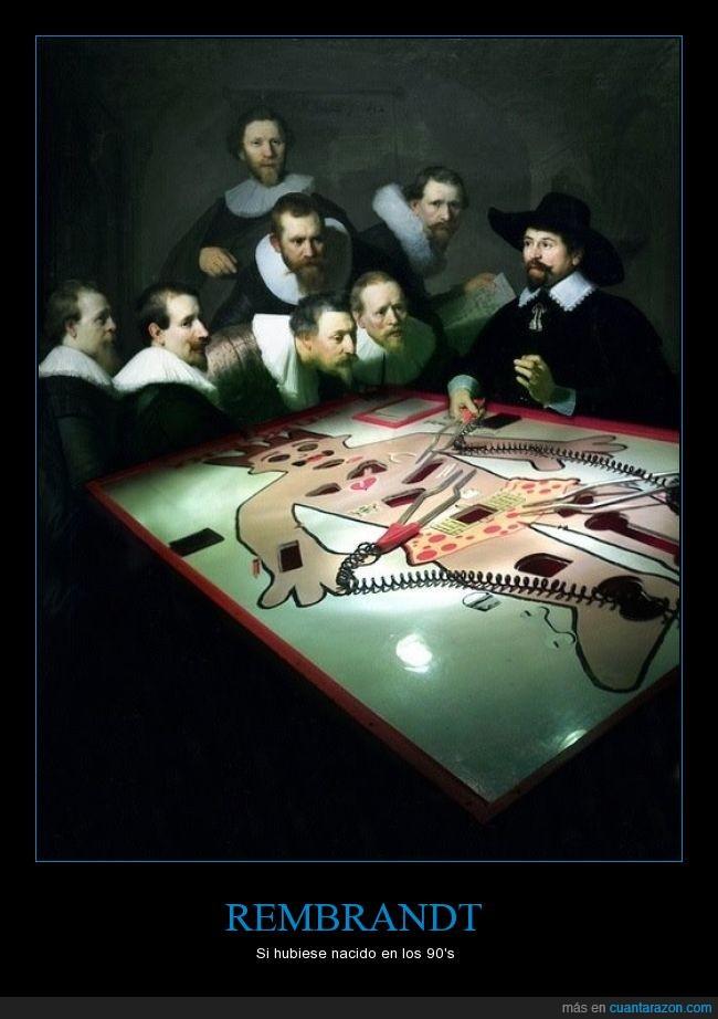 1632,arte,cuadro,Dr. Nicolaes Tulp,humor,juego de mesa,lección de anatomía,operando,photoshop,pintura,Rembrandt