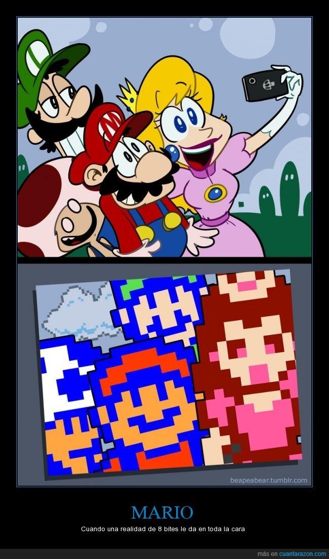 8 bits,Luigi,Mario,Mario Bros,Peach,selfie,Toad,videojuegos