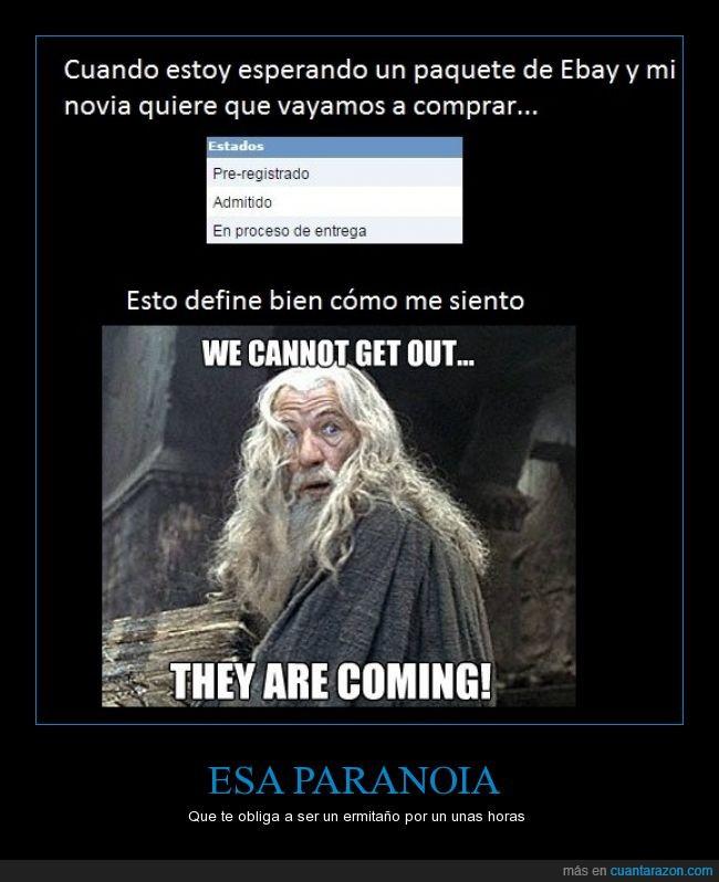 avisar,compra,comprar,envio,Fijo que no estoy y llega,Gandalf,No quiero ir a correos mañana,paquete,Paranoia,salir