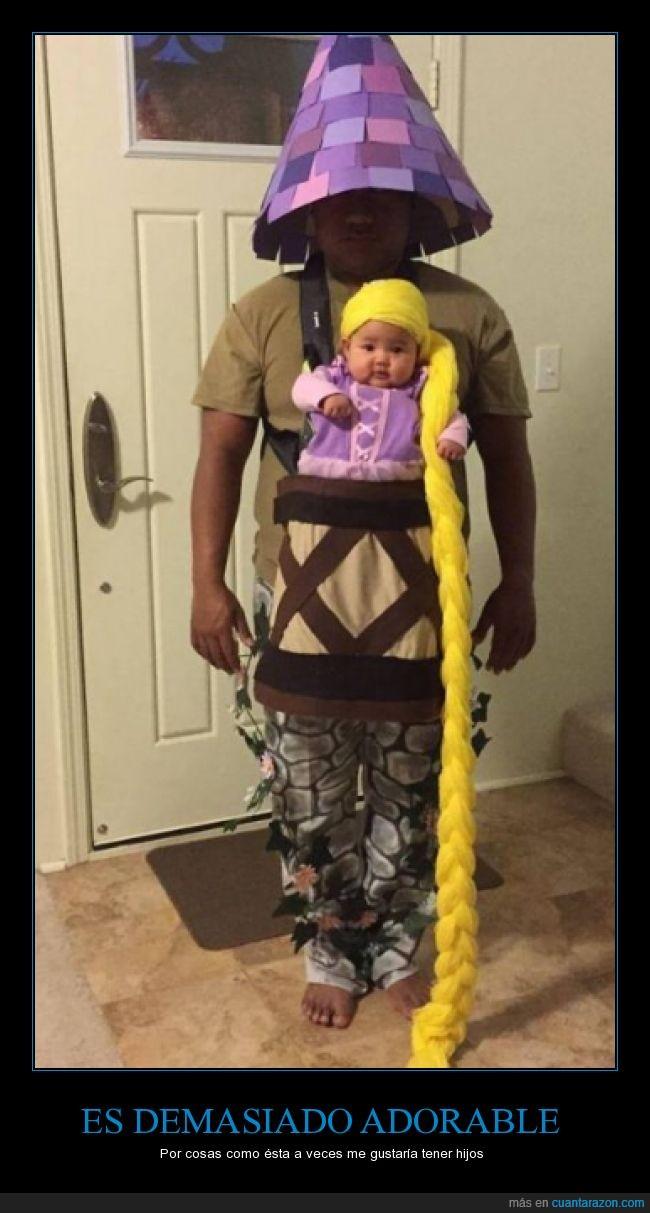 bebe,disfraz,halloween,hija,hijo,padre,rapunzel,torre,trenza