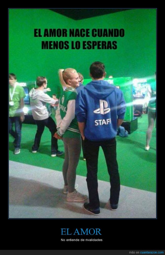 amor,chica,chico,gamer,pareja,Playstation,PS4,rivadidad,stand,videojuegos,Xbox,Xbox one