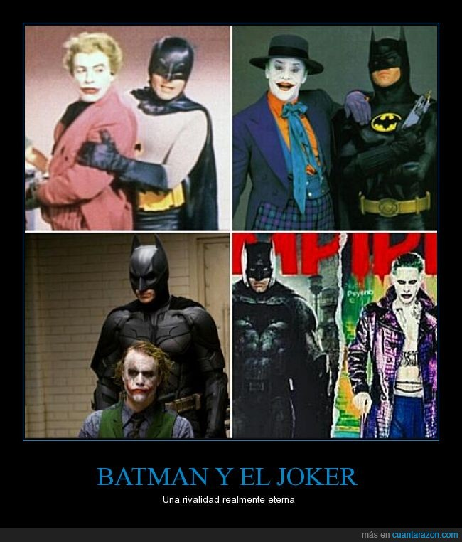 adam west,batman,batman v superman,ben affleck,cesar romero,christian bale,dc comics,el caballero oscuro,escuadron suicida,heath ledger,jack nicholson,jared leto,joker,michael keaton,rivalidad