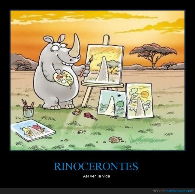 arte,cuadro,cuerno,medio,Rinocerontes,vida