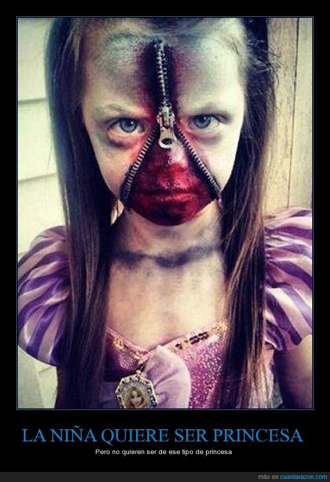 disfraz,Halloween,miedo,niña,princesa,sangre,terror,zombie