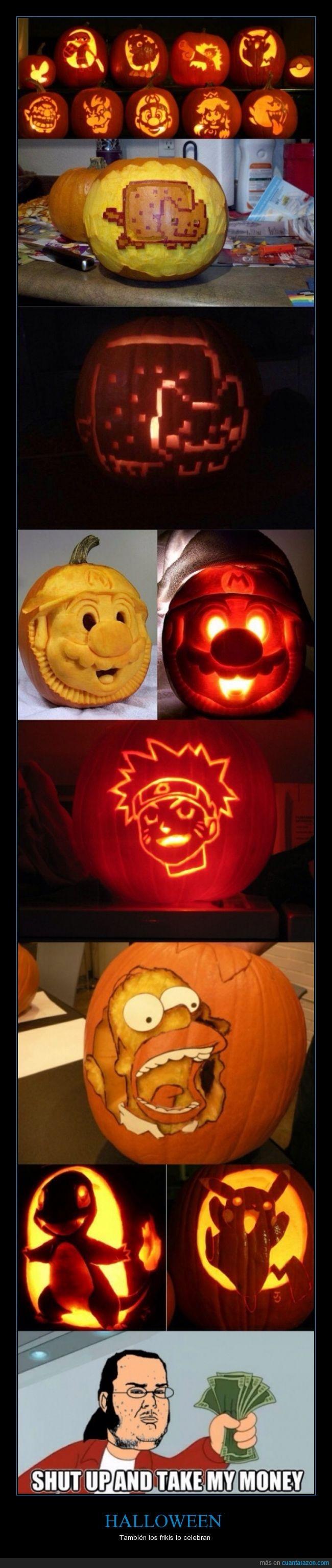 calabaza,frikis,Halloween,homer,mario,naruto,pokemon,tallar