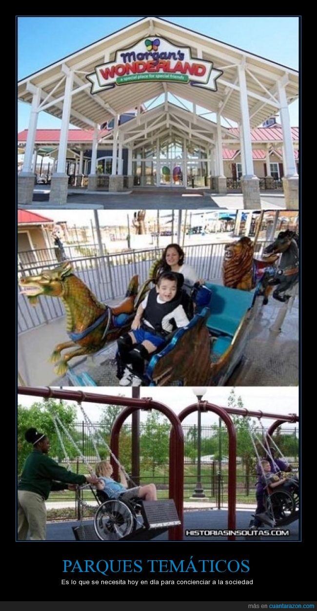 adaptado,Conciencia,Morgan's wonderland,parques,sillas de ruedas,temáticos