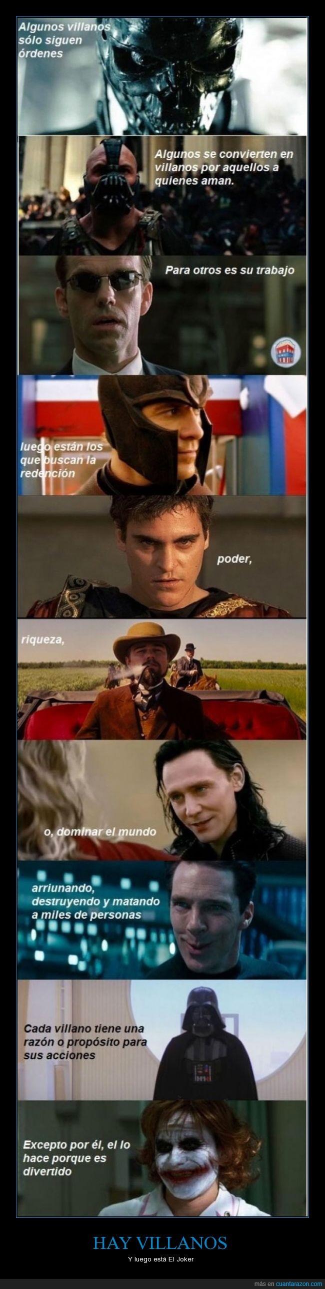 Agente Smith,Darth Vader,divertido,Joker,Magneto,Maximo Meridio,Villanos