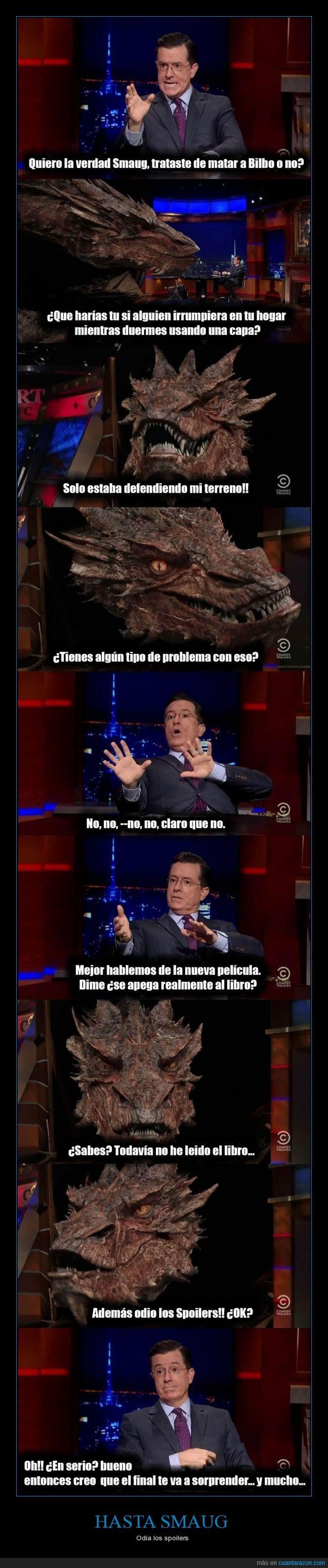bilbo,dragón,smaug,Stephen Colbert,tv