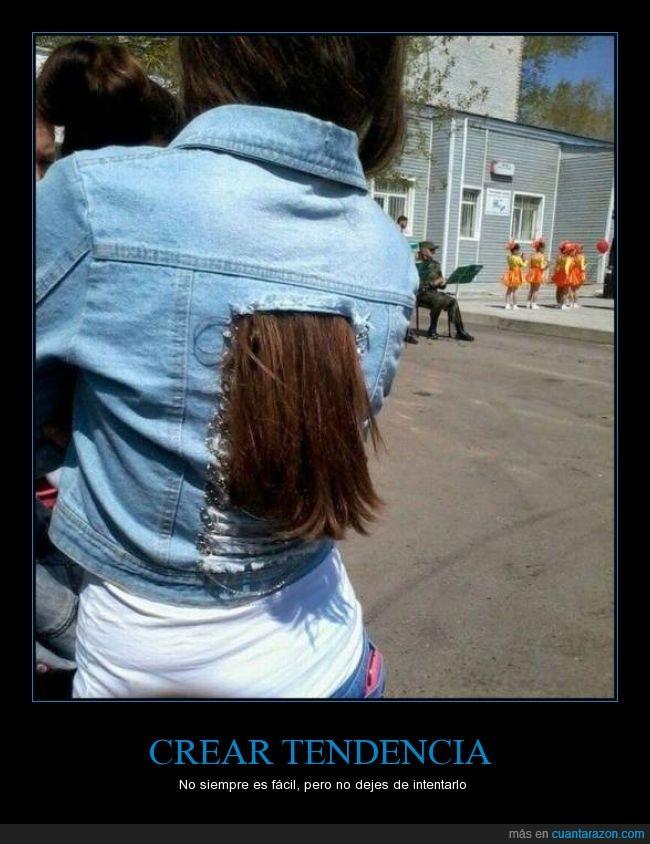 agujero,Cabello,chaqueta,pelo,sacar,tejana,tendencia